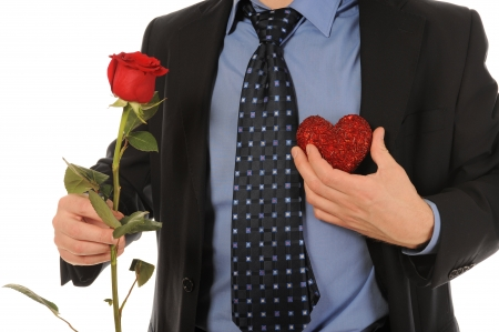 man with a gift box and a rose Stock Photo - 8954812
