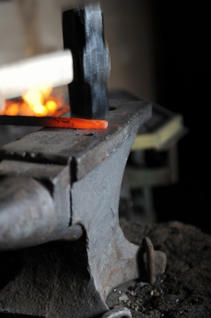 Making a decorative pattern on the anvil Stock Photo - 8954807