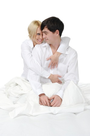 Happy family lying in bed Stock Photo - 8954709