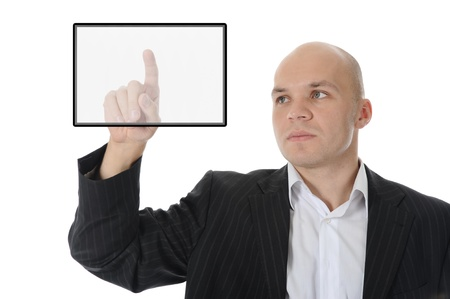 Businessman points finger up Stock Photo - 8947459