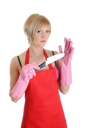 Housewife with a knife photo