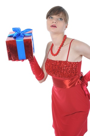 girl in red with a gift box. photo