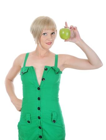 Beautiful girl with green apple photo
