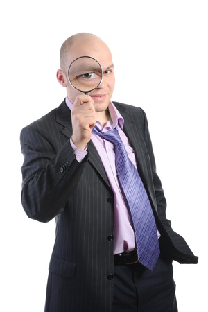 Man with a magnifying photo