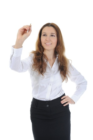 Businesswoman holding a pen photo