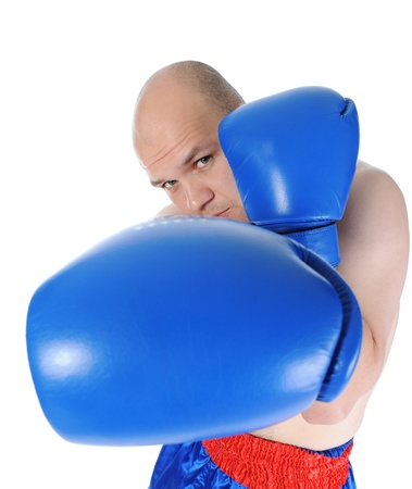 boxer in blue gloves photo