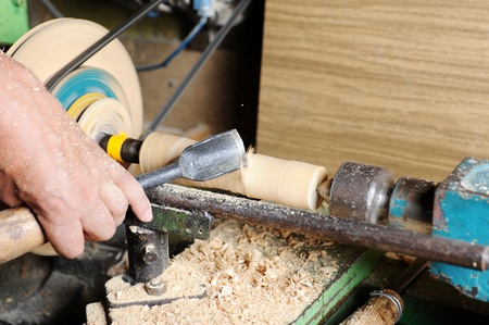 wooden blanks on the lathe photo