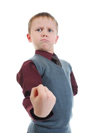 threatens: little bully threatens fist