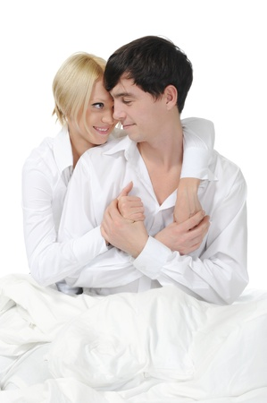 Happy family lying in bed Stock Photo - 8955654