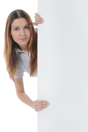 young woman holding blank sheet photo