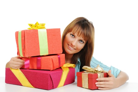 woman with a gift Stock Photo - 9125300