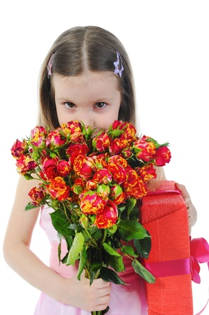 little girl with a rose. photo