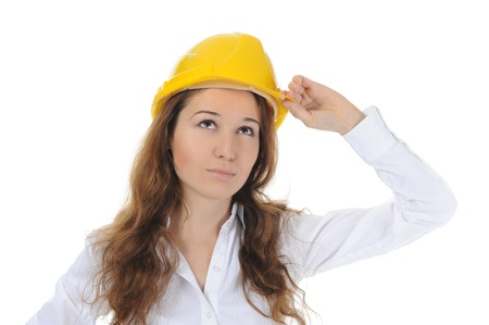 woman with construction helmet photo