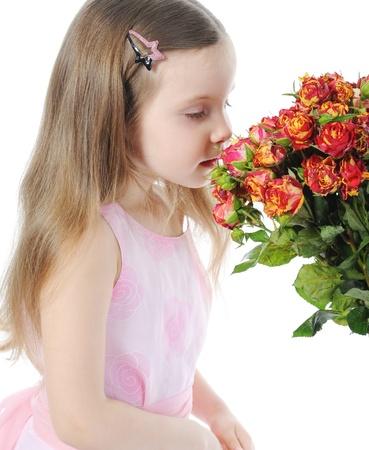petite fille avec une rose. Banque d'images - 9125419