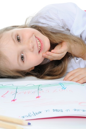 Girl draws Stock Photo - 9125434