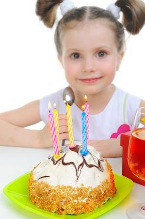 Beautiful little girl celebrates birthday Stock Photo - 9125426