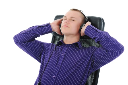 Man with headphones listening to music Stock Photo - 9125433