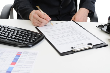 Businessman signs a contract Stock Photo - 9126375