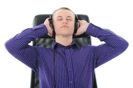 Man with headphones listening to music photo
