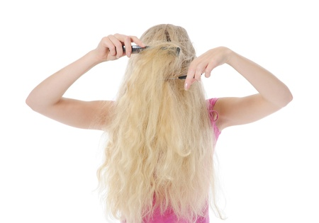 young woman with backcombing photo