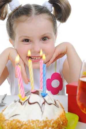 Beautiful little girl celebrates birthday photo