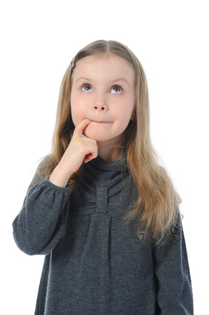 Portrait of a pensive little beautiful girl Stock Photo - 9125839