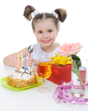 Beautiful little girl celebrates birthday Stock Photo - 9125785