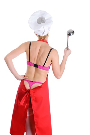 back kitchen: Beautiful cook with a ladle