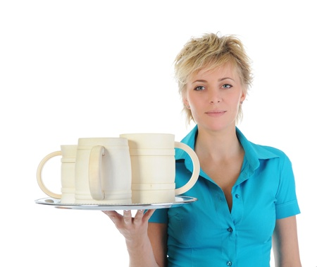 beautiful woman holds a large wooden beer mug.  Stock Photo