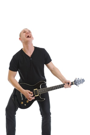 Portrait of a man with guitar photo