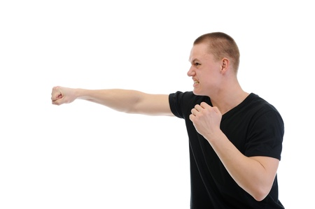 enrage: Angry man punched Stock Photo