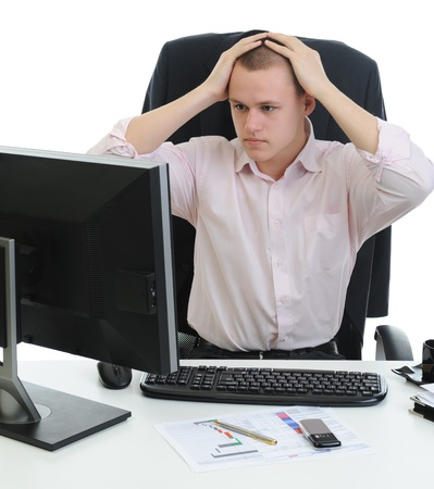 pensiveness: Frustrato uomo d'affari