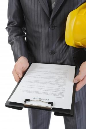 contrato de trabajo: Empresario con casco de construcci�n