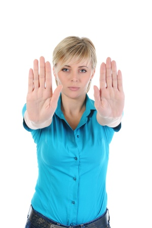 woman stretches out his hand photo