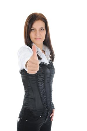beautiful woman showing ok Stock Photo - 9292829