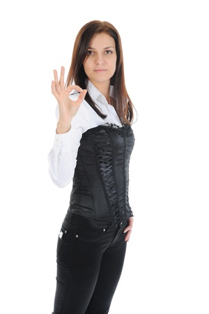 beautiful woman showing ok Stock Photo - 9293232