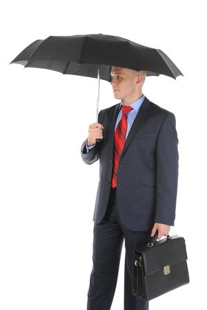 Image of a businessman with umbrella Stock Photo - 9293234