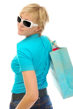 Charming blonde with a shopping bag photo