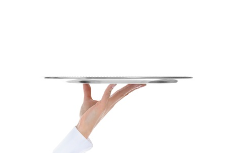 Waiter holding empty silver tray Stock Photo - 9319063