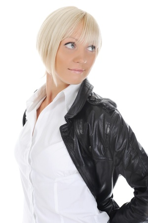 Portrait of the girl in a leather jacket photo