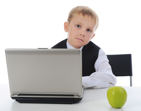 boy fell asleep at the computer Stock Photo - 9319070