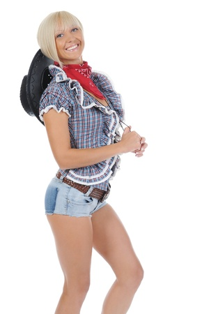 Young beauti cowgirl. Stock Photo - 9319069