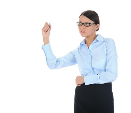 Businesswoman holding a pen Stock Photo - 9319719