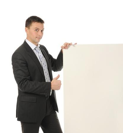 jeune homme avec une feuille vierge Banque d'images - 9319741
