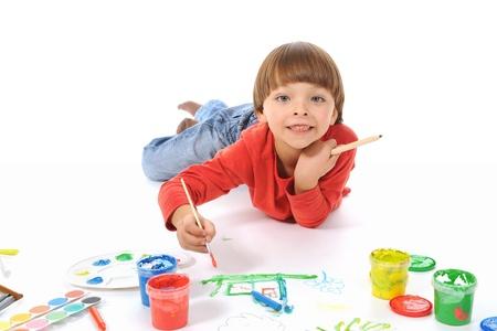 little boy paints Stock Photo - 9319749