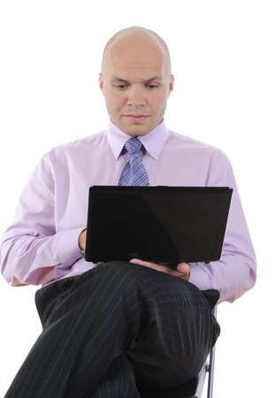 Businessman with laptop Stock Photo - 9359086