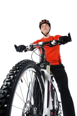 mountain bicycle: portrait of a bicyclist Stock Photo