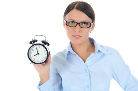 woman with an alarm clock in a hand. Stock Photo - 9359095