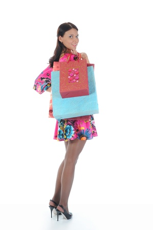 Beautiful girl with shopping bags photo
