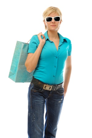 Charming blonde with a shopping bag Stock Photo - 9368900